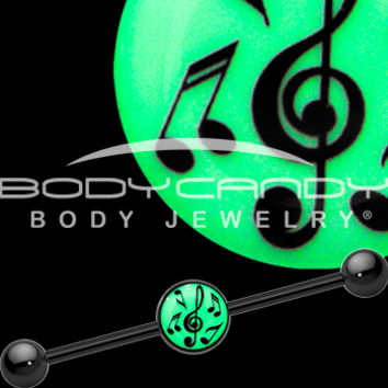 Glow in the Dark Music Notes Industrial Barbell in Black Titanium | Body Candy Body Jewelry