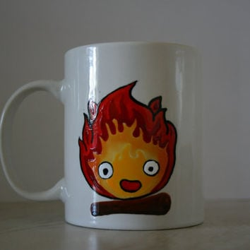CALCIFER MUG with QUOTE. hand painted