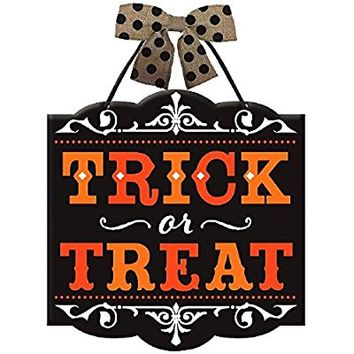 "Amscan New Age Scare Halloween Party Trick or Treat Hanging Sign Decoration, Multicolor, 12"" x 11 3/4"""