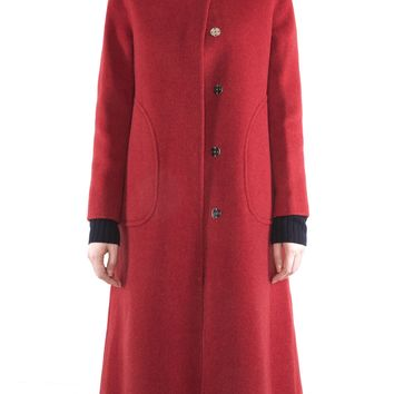 Two-Sided Pure Alpaca & Wool Hand-stitched Button Down with Round Tip Collar Long Coat