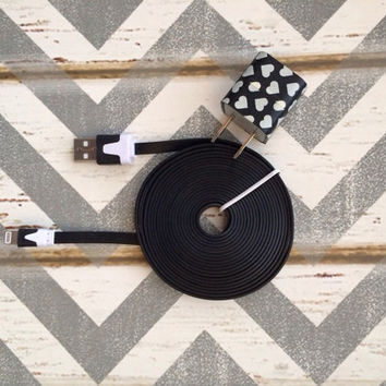 New Super Cute Black & Cream Hearts Designed Wall iphone 5/5s Charger + 10ft Flat Black Tangle Free Cable Cord