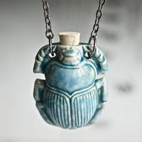 $24.00 SCARAB Necklace  Raku Style Peruvian ceramic by blackpersimmons