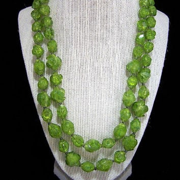Olive Green Lucite Bead Necklace,  Multi Strand, Transparent Nugget Beads, Mid Century Vintage Beaded Jewelry, Costume Jewellery 218