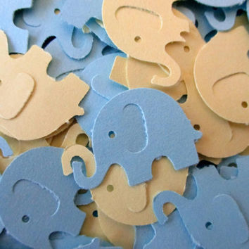 125. Elephant confetti. Party supplies. Scrapbook die cuts. Birthday party. Baby boy. Shower decorations. Blue elephant embellishments.