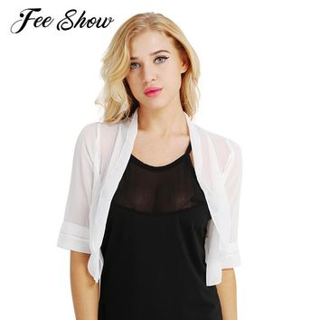 8dd53bfd20d 2018 Womens Fashion Bolero Outerwear Soft Sheer Lightweight Chif