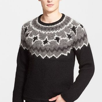 Men's Neil Barrett Intarsia Knit Fair Isle Sweater,