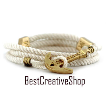 Anchor Bracelet / White Bracelet / New MARITIME Collection / Wrap Bracelet / Sea Bracelet / Rope Bracelet / Wooden Box / Adjustable Size