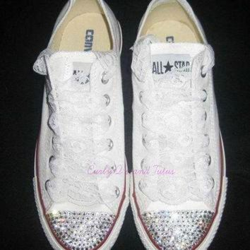 CREYUG7 Adult 'Bling' converse in your choice of color & ribbon shoelace to match. Super cute