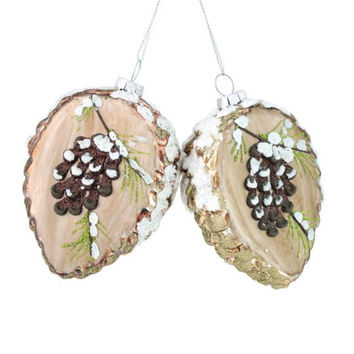 6 Christmas Ornaments - Frosted Pine Cones