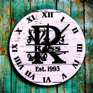 Personalized Split Letter Monogram Clock