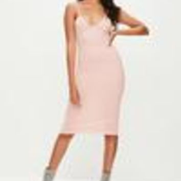 Missguided - Pink Cami Strap Bodycon Midi Dress