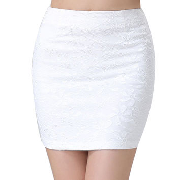 1 pcs Women New Stretch Ladies Wiggle Pencil Tube Plain Office Lace Skirt