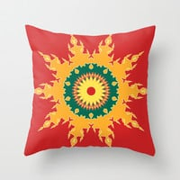Orange green mandala on red Throw Pillow by cycreation