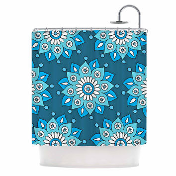 "Sarah Oelerich ""Blue Flower Burst"" Aqua Shower Curtain"