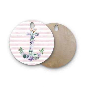 "Nika Martinez ""Floral Anchor"" Pink Stripes Round Wooden Cutting Board"