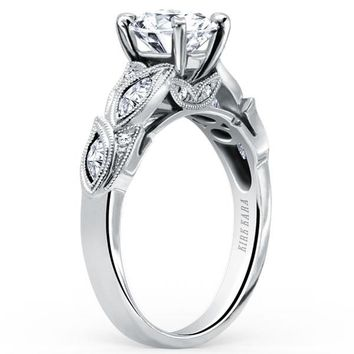 "Kirk Kara ""Dahlia"" Diamond Marquise Cut Leaf Engagement Ring"
