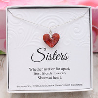 Gift for sister gift 925 sterling silver Swarovski crystal Red Heart necklace in a box Sisters at Heart gift from sister, Christmas gift