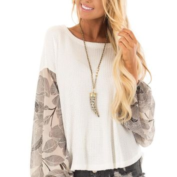 Ivory Waffle Knit Top with Flowy Black Floral Print Sleeves