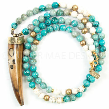 Horn Necklace | Turquoise Jasper Necklace | Tribal Necklace | Beaded Gemstone Necklace | Tusk Necklace | Bohemian Necklace
