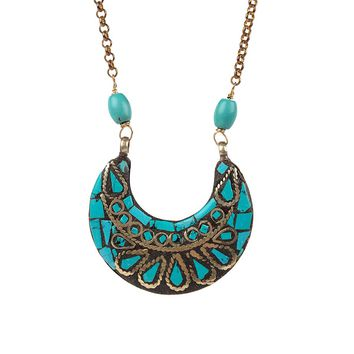 By Aqua Luna  Long Crescent Necklace