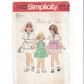 Simplicity 7412 Pattern for Girls' Dress and Capelet, Size 4, From 1976, Vintage Pattern, Home Sewing Pattern, Flower Girl Dress, 1976 Sew