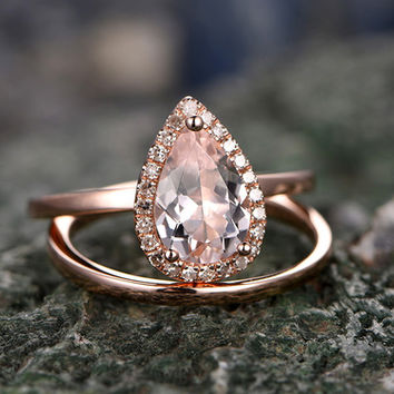 1 Carat Tear Droped Pink Morganite Engagement Ring Solid 14K Rose gold Diamond Ring Plain Gold Eternity Matching Bands