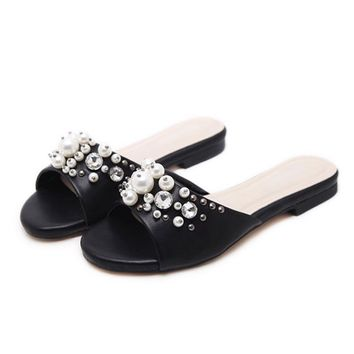 New Summer Women Slippers Beach Slides Fashion Pearls Shoes Woman Platform