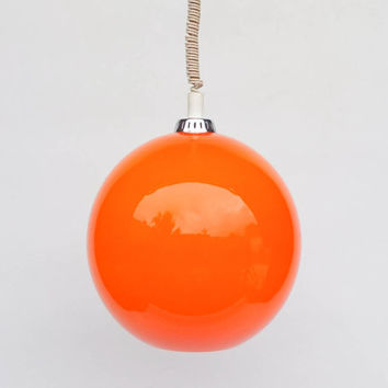 Vintage Cased Glass Orange Globe Pendant Lamp / 70s  Adjustable Hanging Light