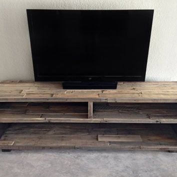 solid reclaimed wood media entertainment tv console unit stand center - custom rustic wood pallet reclaimed furniture beach house cabin