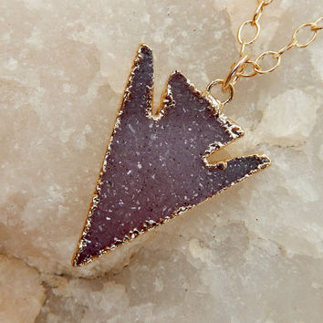 Purple Arrowhead Druzy Necklace 24K Gold Triangle Quartz Natural Rock Crystal Pendant- Free Shipping OOAK Jewelry
