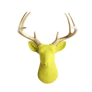 The Virginia | Large Deer Head | Faux Taxidermy | Yellow + Gold Antlers Resin