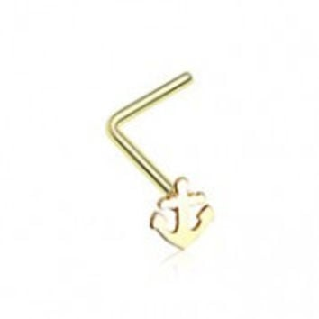 Golden Dainty Anchor Icon L-Shaped Nose Ring
