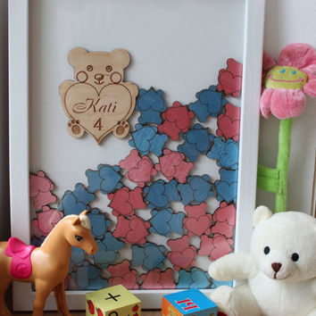 Baby Shower Guest Book Alternative Guest Book Drop Top Teddy Bear  Birthday guestbook hearts Guestbook Alternative Baby Memory Box