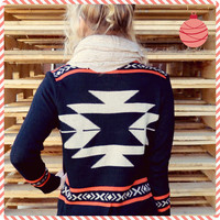 Curling Willow Black Aztec Sweater Cardigan