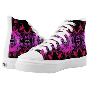 Hot Pink Vines Printed Shoes