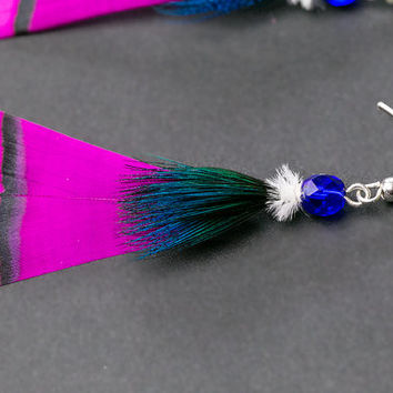 SALE Hot pink real feather earrings with crystal, dangle earring, natural feather earring, festival earring, boho earring, folk, peacock, pi