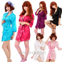 Sexy Silk Lace Kimono Dressing Gown Bath Robe Babydoll Lingerie Underwear Thong = 1932150212