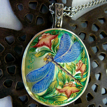 Blue Dragonfly Hand Painted Cameo Pendant 925 Sterling Silver Mother Of Pearl Gemstone Artist Signed Art Jewelry