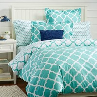 Lucky Clover Reversible Duvet Cover + Sham, Pool
