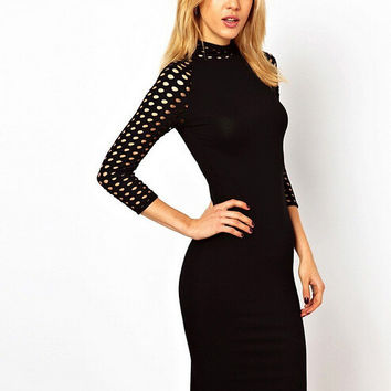 Black Halter Long Sleeve Netted Bodycon Midi Dress