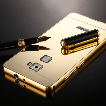 Noble Phone Case For Huawei Mate S Luxury High Quality Metal Aluminum Frame+Ultra Slim Acrylic Mirror Back Cover Capa