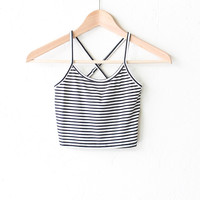 Striped Crop Tank Top with Cross Back