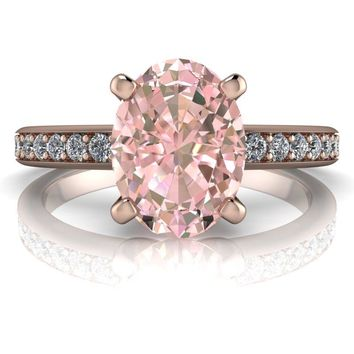 Oval Morganite High Set Solitaire Diamond Engagement Ring 1.28 ctw