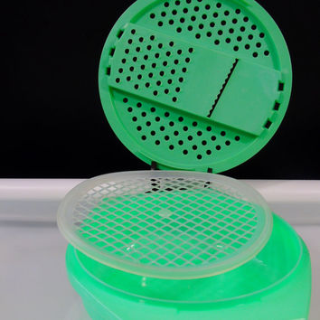 Vintage Kitchen 3 Piece Jadeite Tupperware  Shredder Slicer Grater Bowl Strainer No 787 786 515 Green Jadite