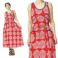 Vintage Red Floral Cotton Dress (M)
