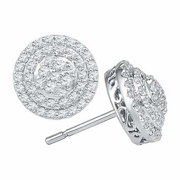 10kt White Gold Women's Round Diamond Concentric Circle Layered Cluster Earrings 3-4 Cttw - FREE Shipping (USA/CAN)