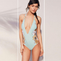One-piece Suit Vintage Retro Swimsuit Print Swimwear