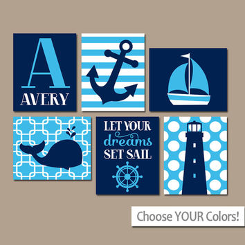 BOY Nautical Wall Art, CANVAS or Prints, Ocean Baby Nursery Artwork, Coastal Blue Bedroom Pictures, Whale Anchor Sailboat Set of 6 Set Sail
