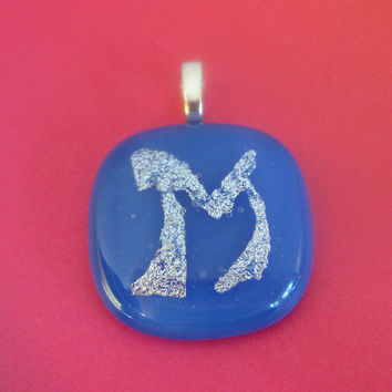 Initial Pendant, Initial Glass Pendant, Dichroic Fused Glass Pendant Blue - Initial M -by mysassyglass