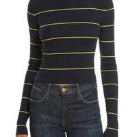 Theory Stripe Crop Turtleneck | Nordstrom